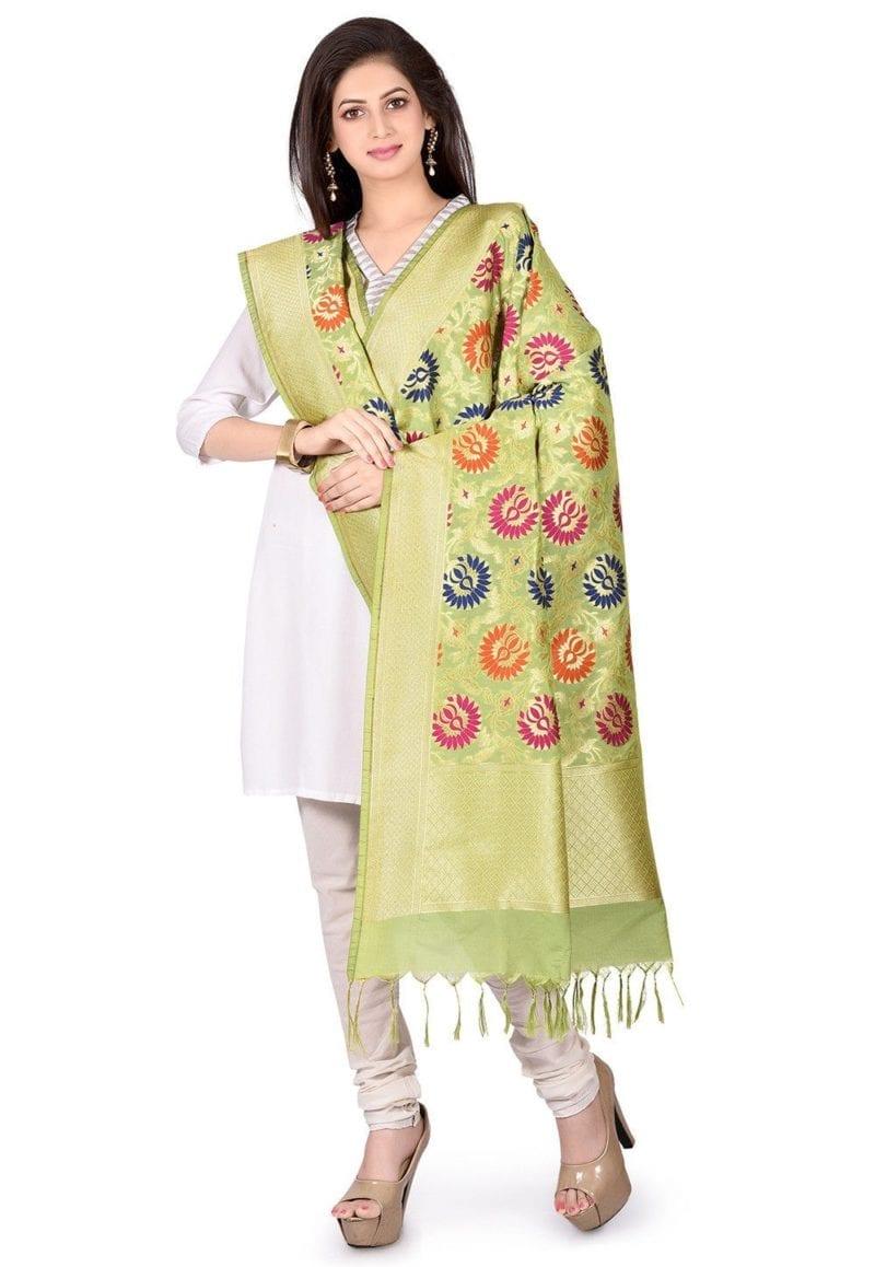 Woven Banarasi Art Silk Kimkhab Dupatta in Light Green 3