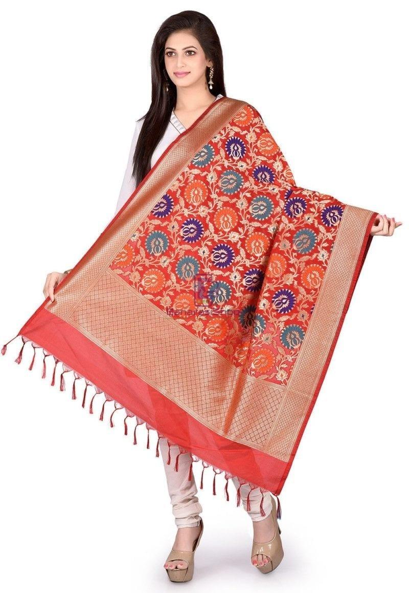 Woven Banarasi Art Silk Kimkhab Dupatta in Red 1
