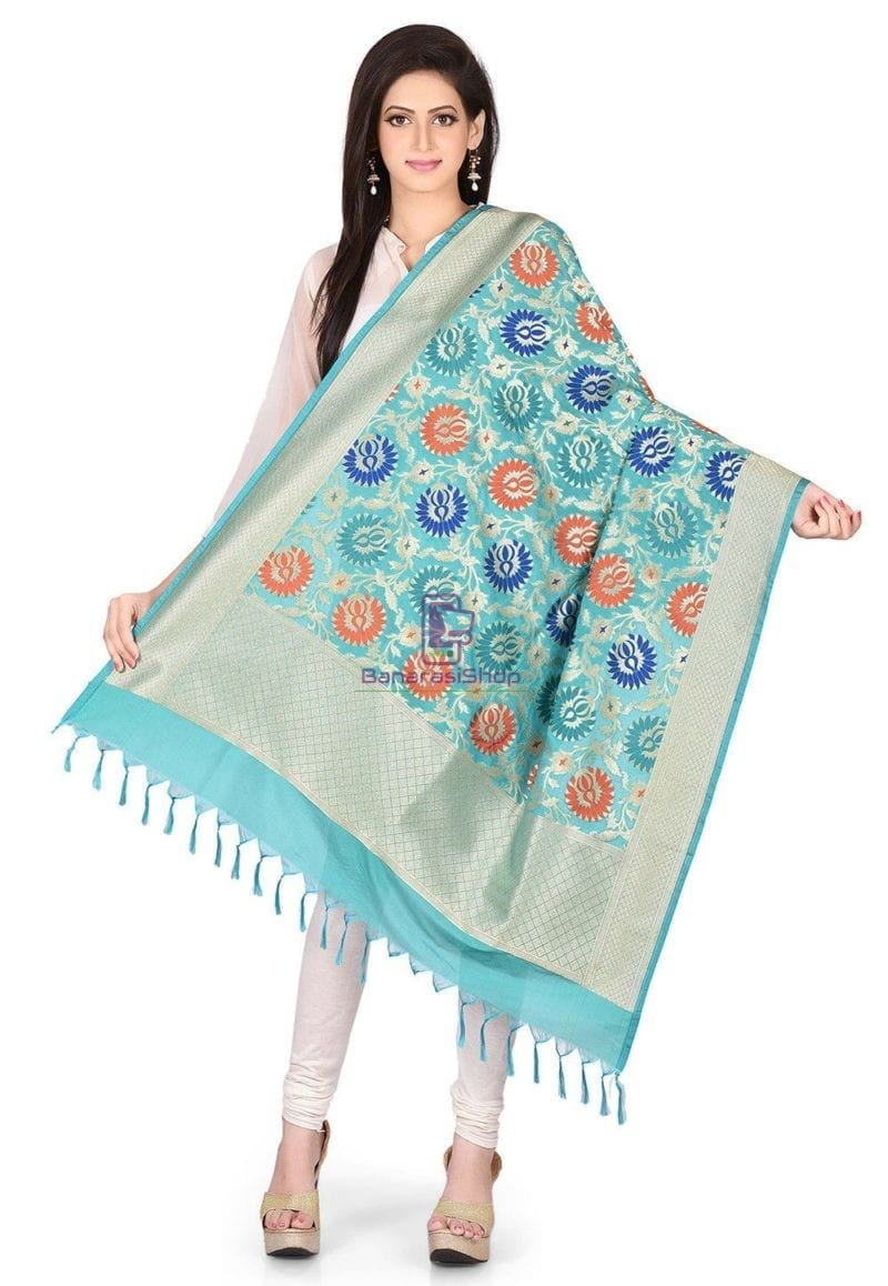 Woven Banarasi Art Silk Kimkhab Dupatta in Turquoise 1