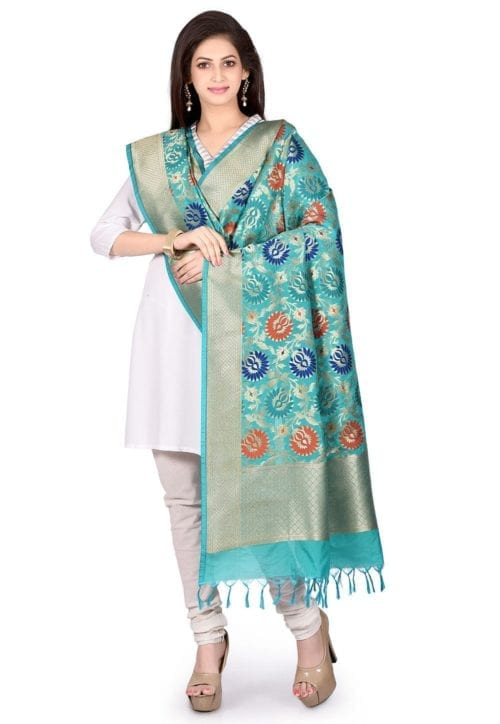 Woven Banarasi Art Silk Kimkhab Dupatta in Turquoise 5