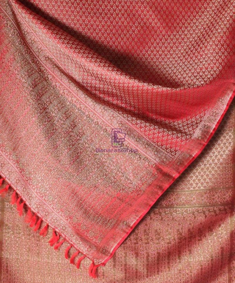 Handwoven Tanchoi Banarasi Silk Stole in Red 2