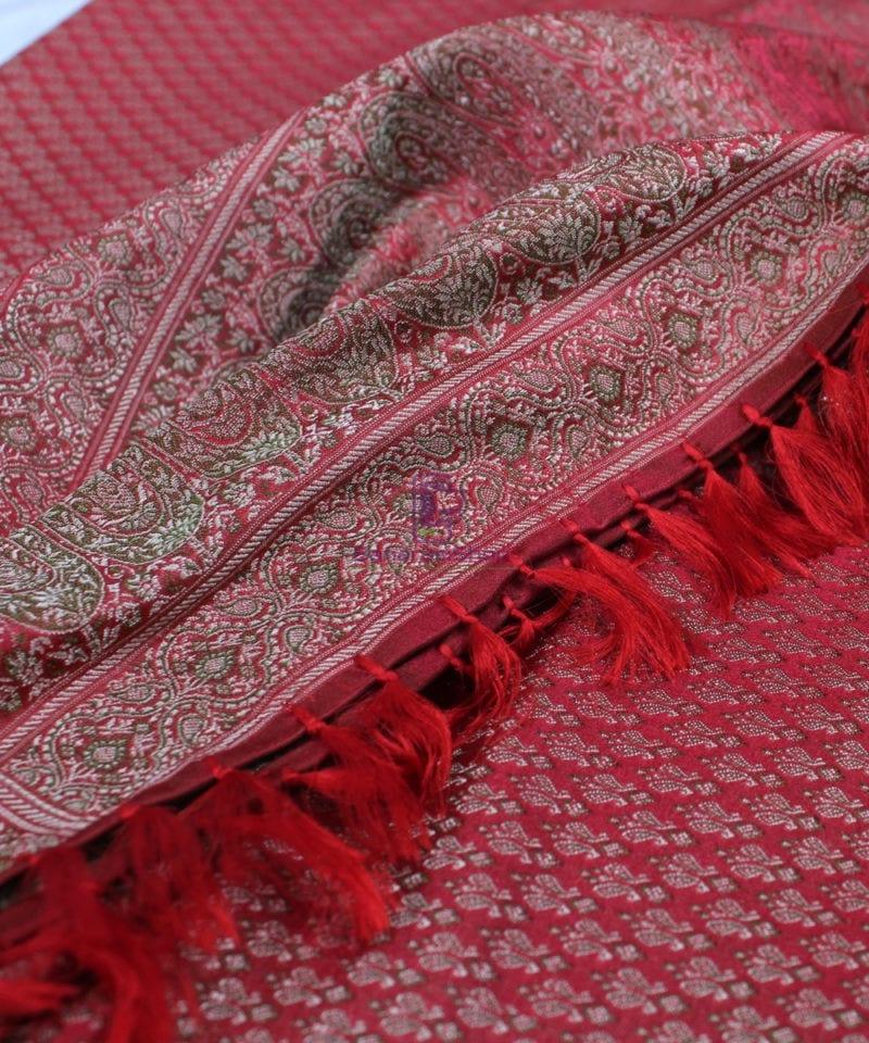 Handwoven Tanchoi Banarasi Silk Stole in Red 1
