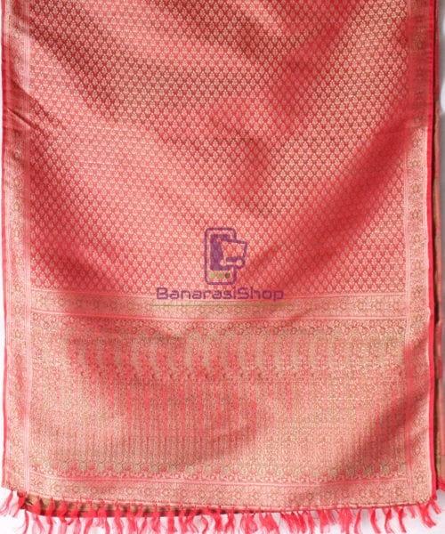 Handwoven Tanchoi Banarasi Silk Stole in Red 5