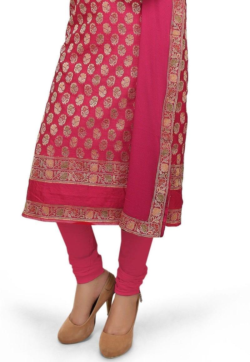 Woven Cotton Silk Jacquard Straight Suit in Fuchsia 2