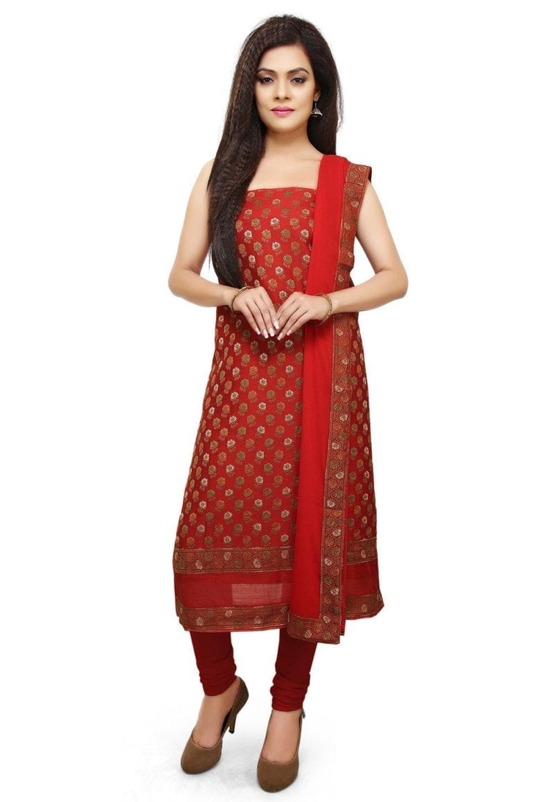 Woven Cotton Silk Jacquard Straight Suit in Red 1