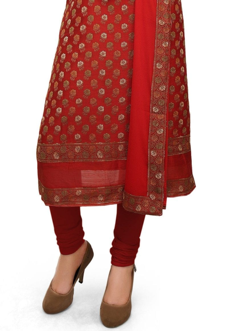 Woven Cotton Silk Jacquard Straight Suit in Red 2