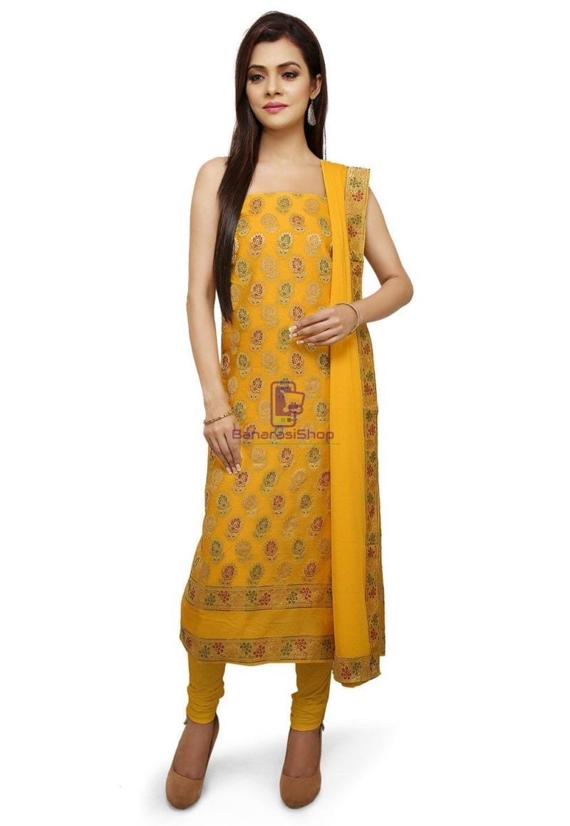 Woven Cotton Silk Jacquard Straight Suit in Yellow 1