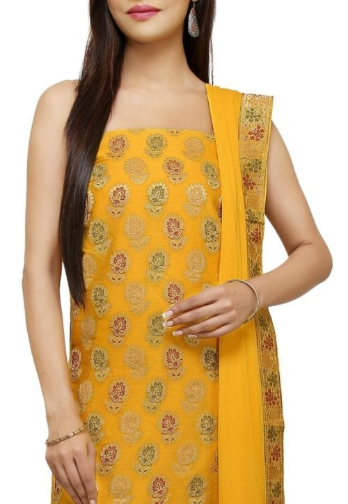 Woven Cotton Silk Jacquard Straight Suit in Yellow 3