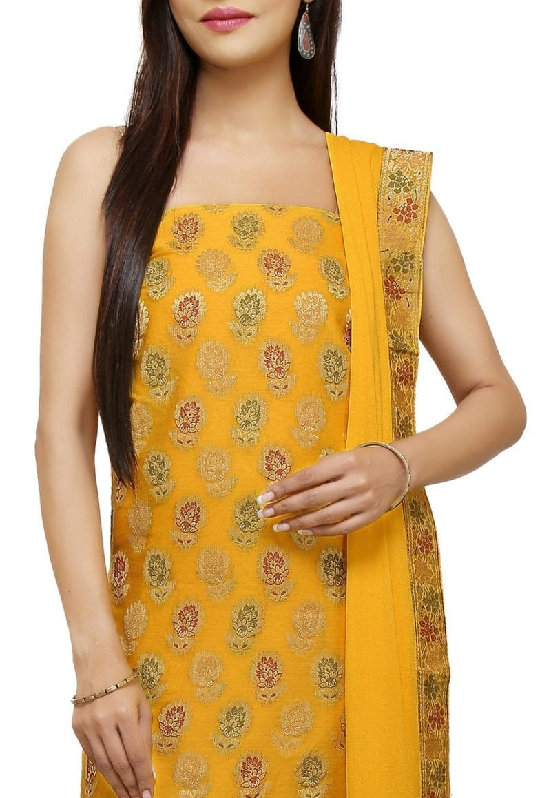 Woven Cotton Silk Jacquard Straight Suit in Yellow 2