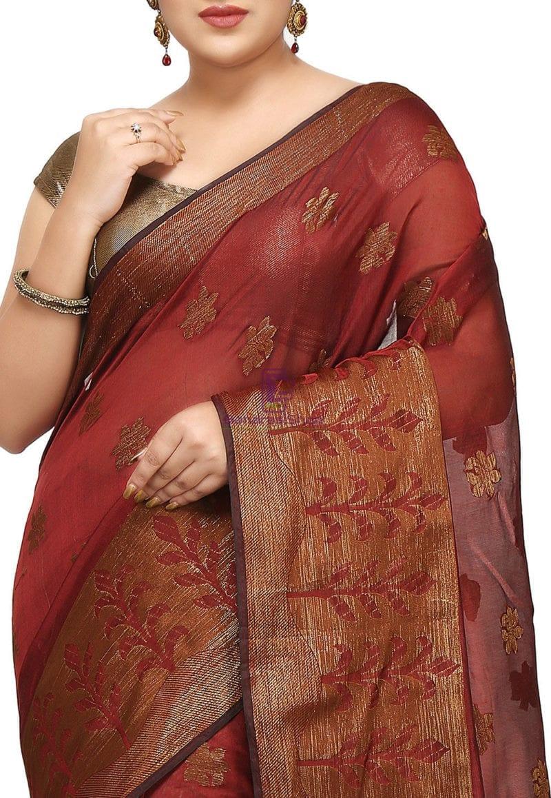 Woven Cotton Silk Jacquard Saree in Maroon 2