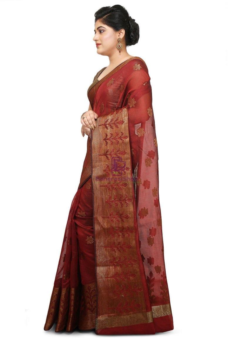 Woven Cotton Silk Jacquard Saree in Maroon 4