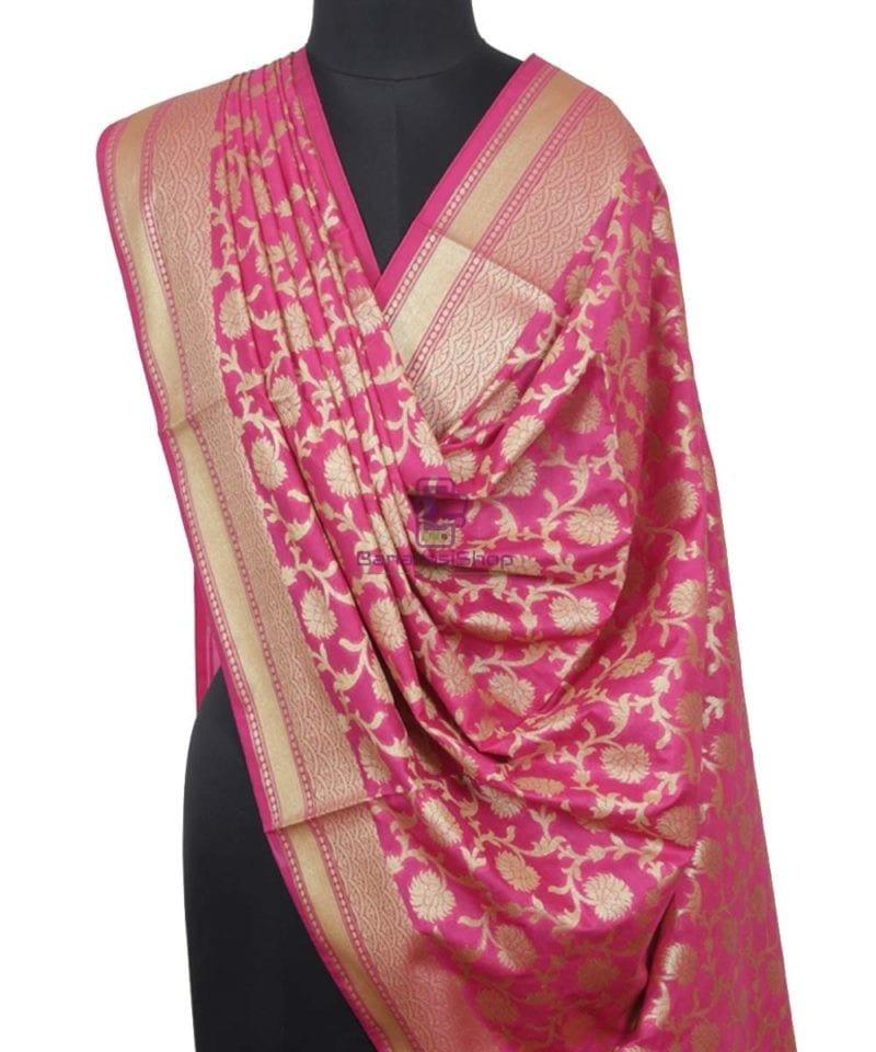 Banarasi Handloom Fuschia Pink Dupatta 1