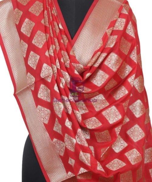 Handloom Banarasi Crimson Red Dupatta 4