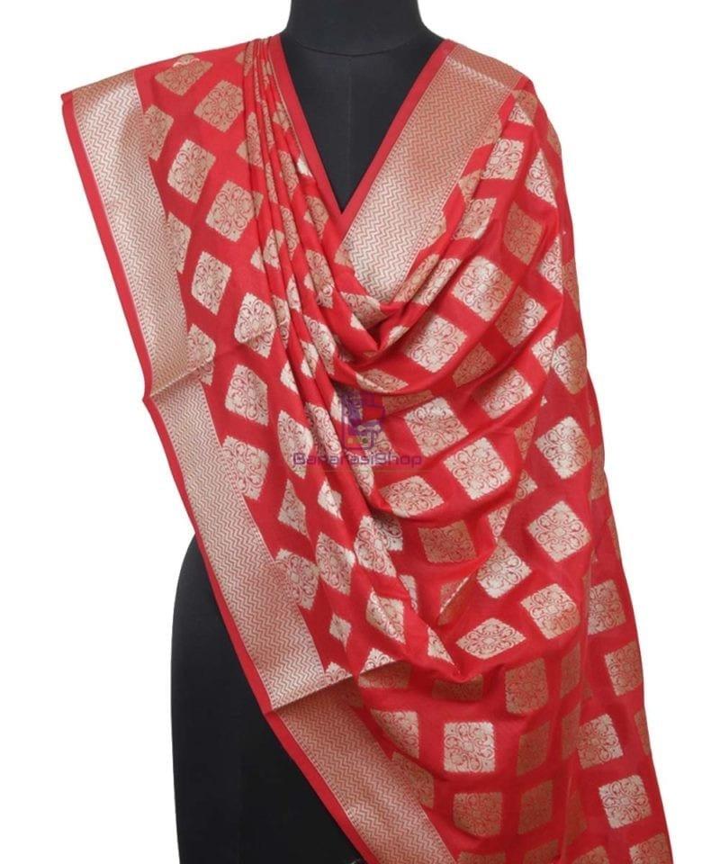 Handloom Banarasi Crimson Red Dupatta 1