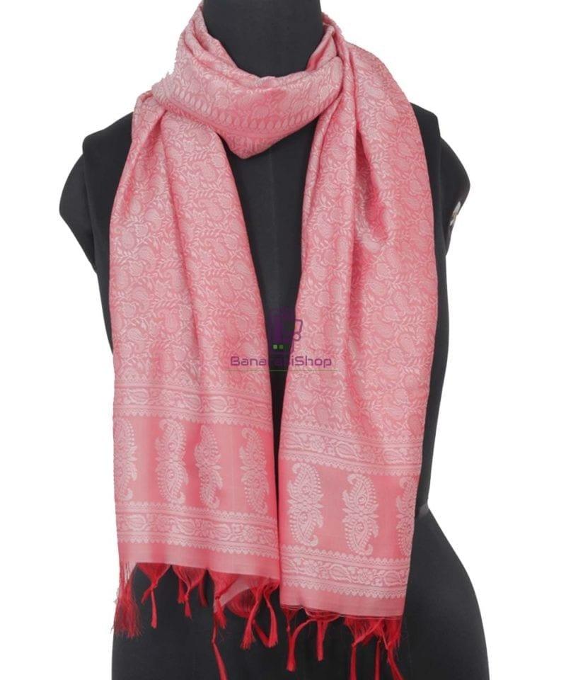 Handloom Banarasi Tanchoi Blush Pink Stole 1