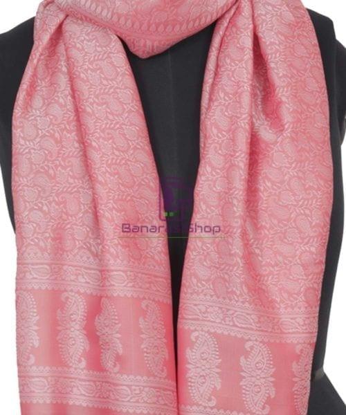 Handloom Banarasi Tanchoi Blush Pink Stole 4