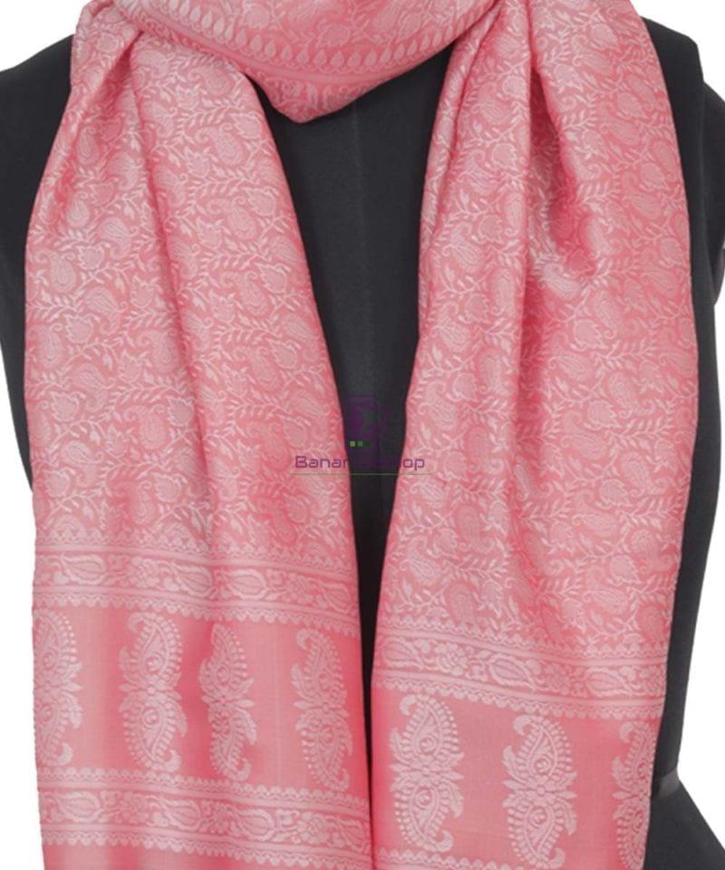Handloom Banarasi Tanchoi Blush Pink Stole 2