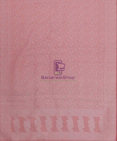 Handloom Banarasi Tanchoi Blush Pink Stole 5