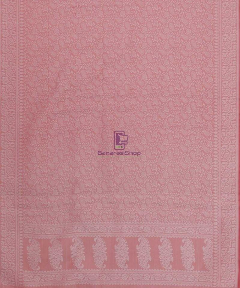 Handloom Banarasi Tanchoi Blush Pink Stole 3
