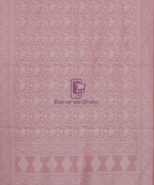 Handloom Banarasi Tanchoi Rose Pink Stole 5