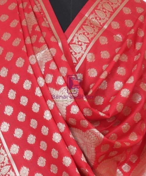 Handloom Banarasi Rose Red Dupatta 5