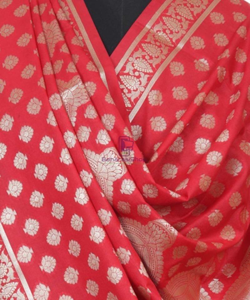 Handloom Banarasi Rose Red Dupatta 3