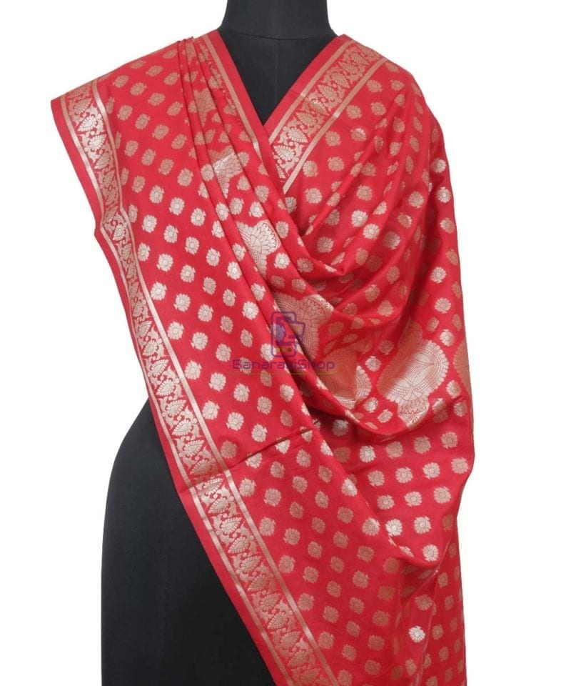 Handloom Banarasi Rose Red Dupatta 1
