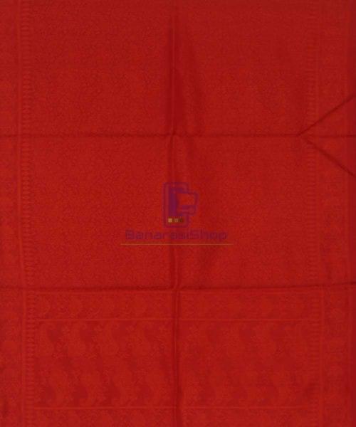Handloom Banarasi Tanchoi Candy Red Stole 5