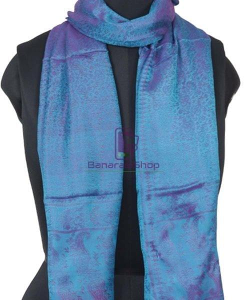 Handloom Banarasi Tanchoi Cobalt Blue Stole 4