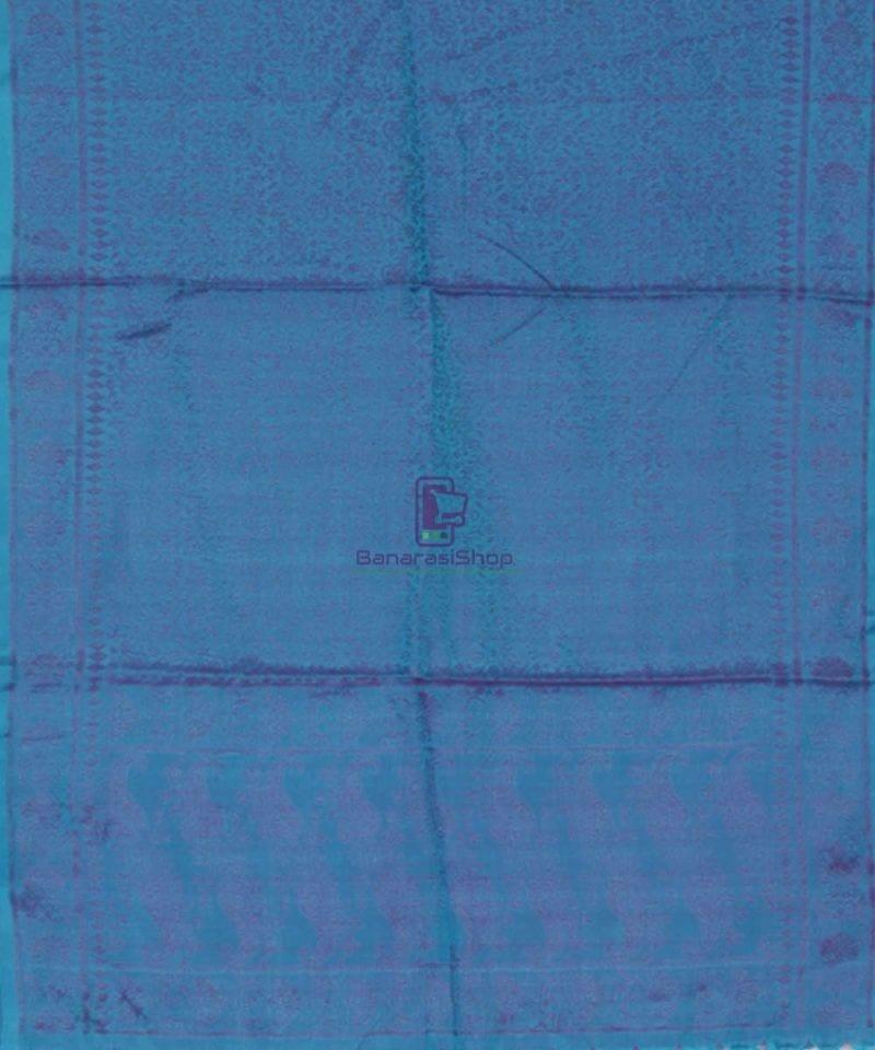Handloom Banarasi Tanchoi Cobalt Blue Stole 3