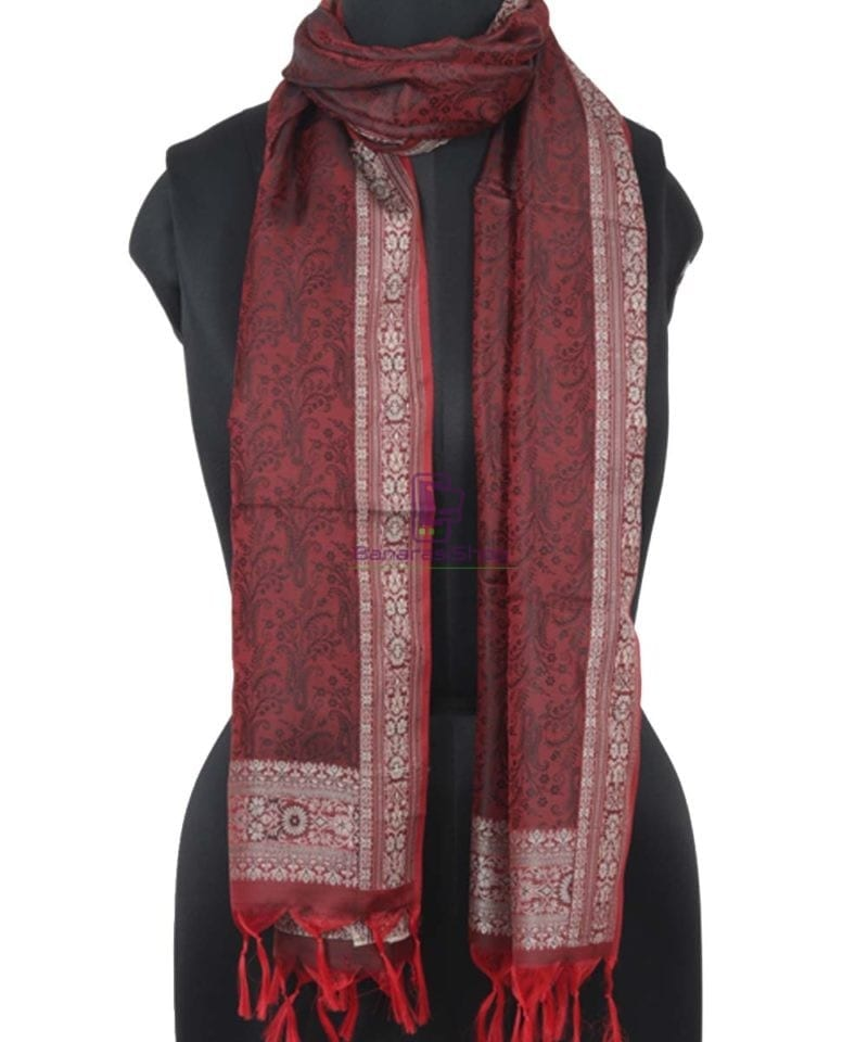Garnet Red Handloom Banarasi Tanchoi Stole 1