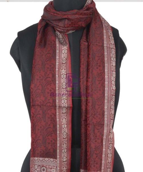 Garnet Red Handloom Banarasi Tanchoi Stole 4