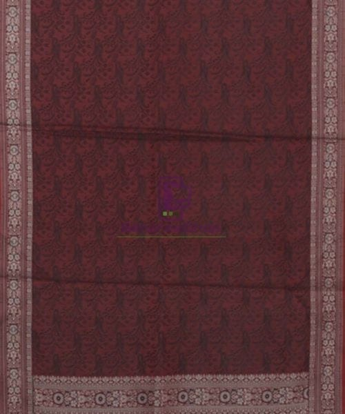 Garnet Red Handloom Banarasi Tanchoi Stole 5