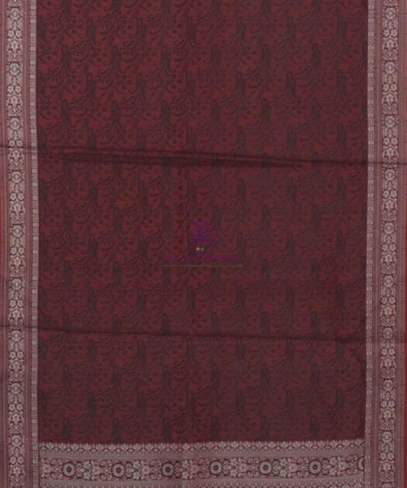 Garnet Red Handloom Banarasi Tanchoi Stole 3