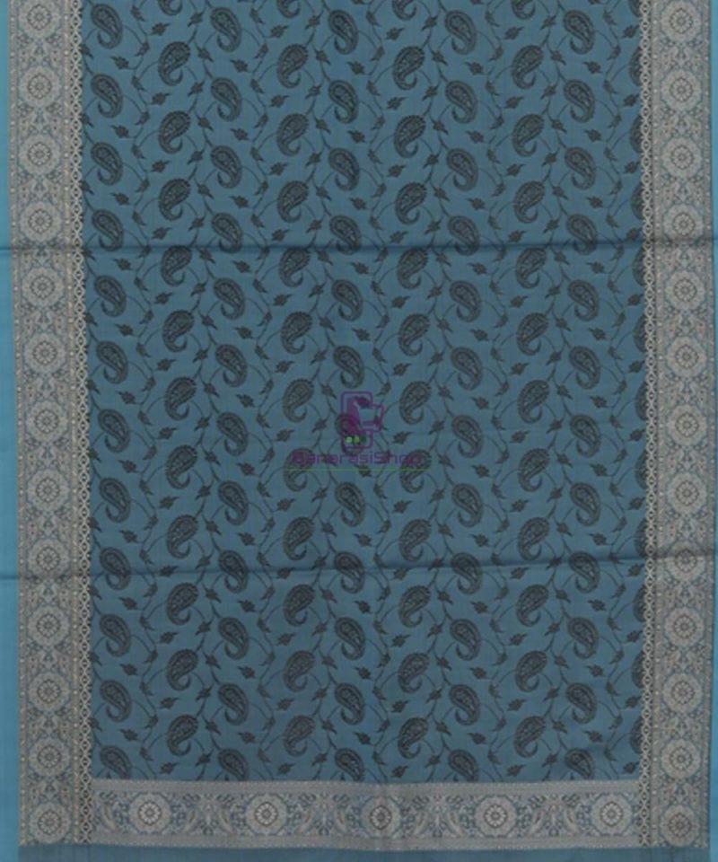 Handloom Banarasi Tanchoi Lapis Blue Stole 3