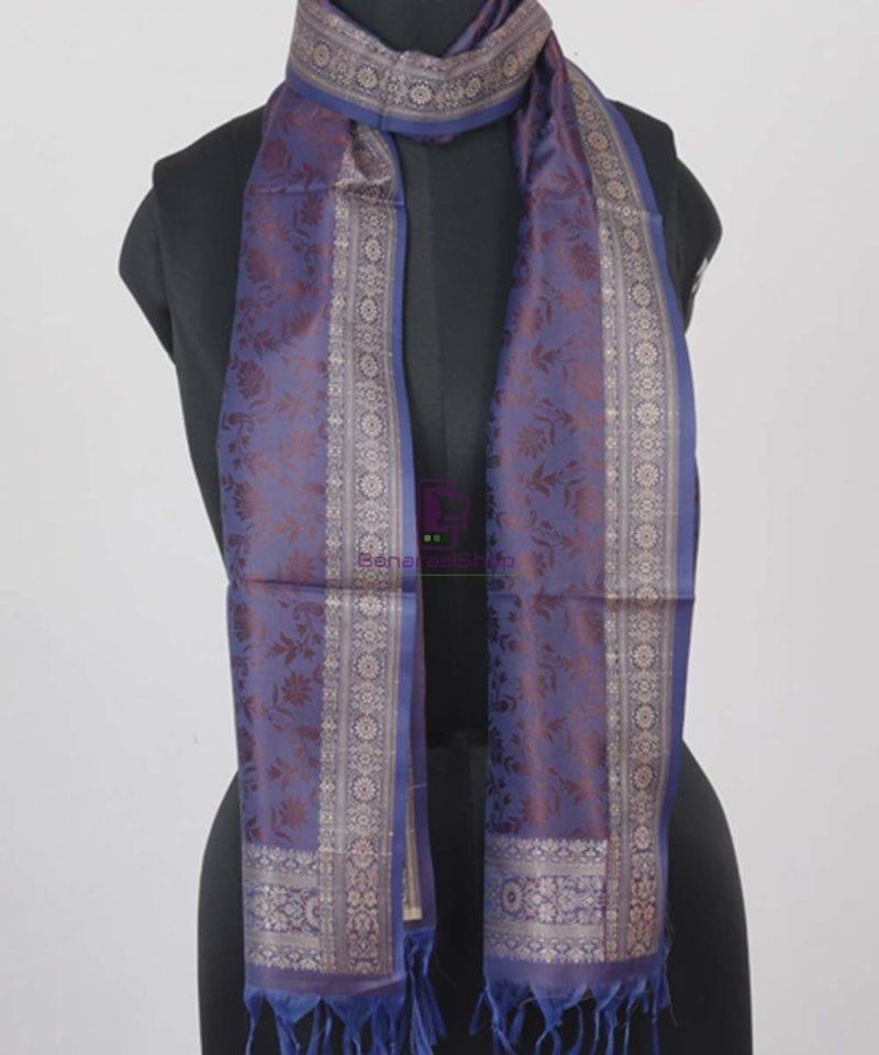 Handloom Banarasi Tanchoi Violet Stole 1
