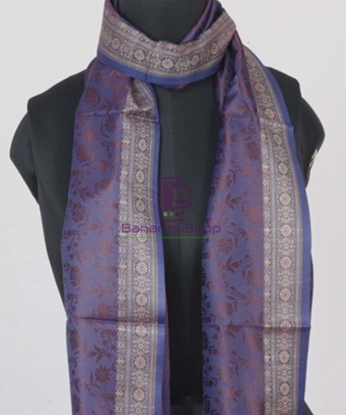 Handloom Banarasi Tanchoi Violet Stole 4