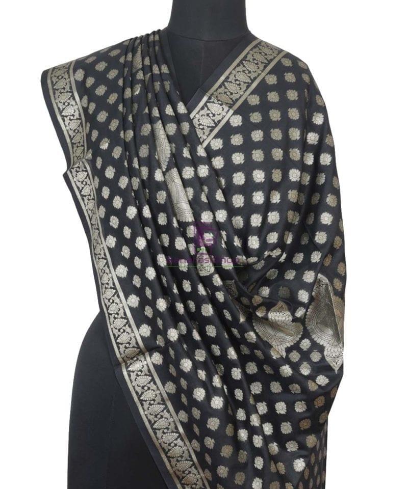 Banarasi Handloom Shadow Black Dupatta 1