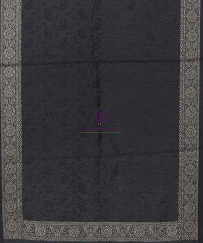 Handloom Banarasi Tanchoi Black Stole 3