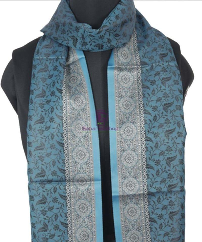 Handloom Tanchoi Banarasi Lapis Blue Stole 2