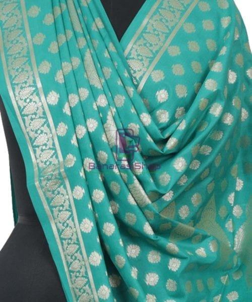 Banarasi Handloom Cerulean Blue Dupatta 4