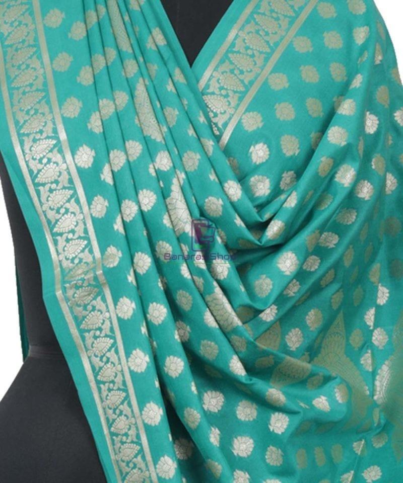 Banarasi Handloom Cerulean Blue Dupatta 2