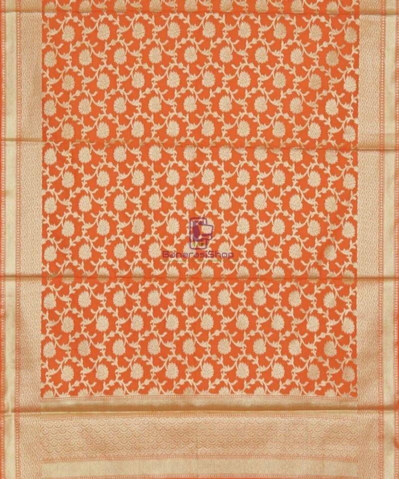 Banarasi Handloom Orange Tangerine Dupatta 3