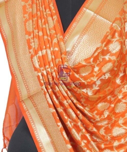 Banarasi Handloom Orange Tangerine Dupatta 4