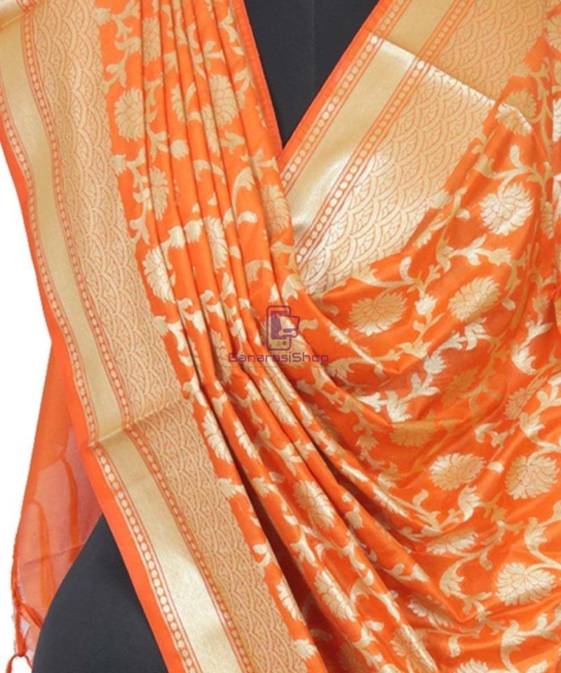 Banarasi Handloom Orange Tangerine Dupatta 2