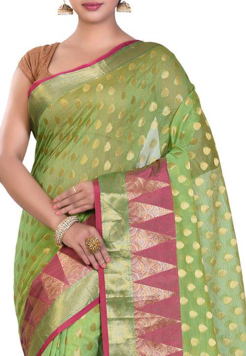 Banarasi Cotton Silk Saree in Light Green 5