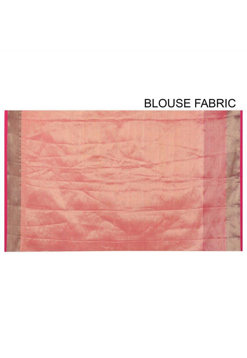 Banarasi Cotton Silk Saree in Peach Pink 3