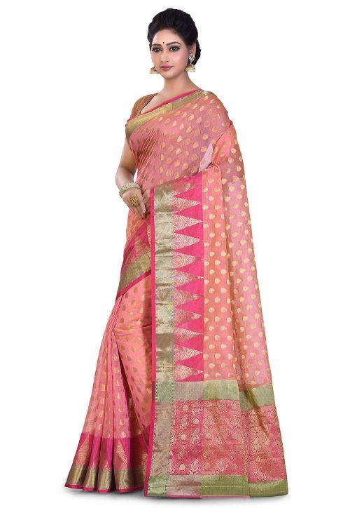 Banarasi Cotton Silk Saree in Peach 7
