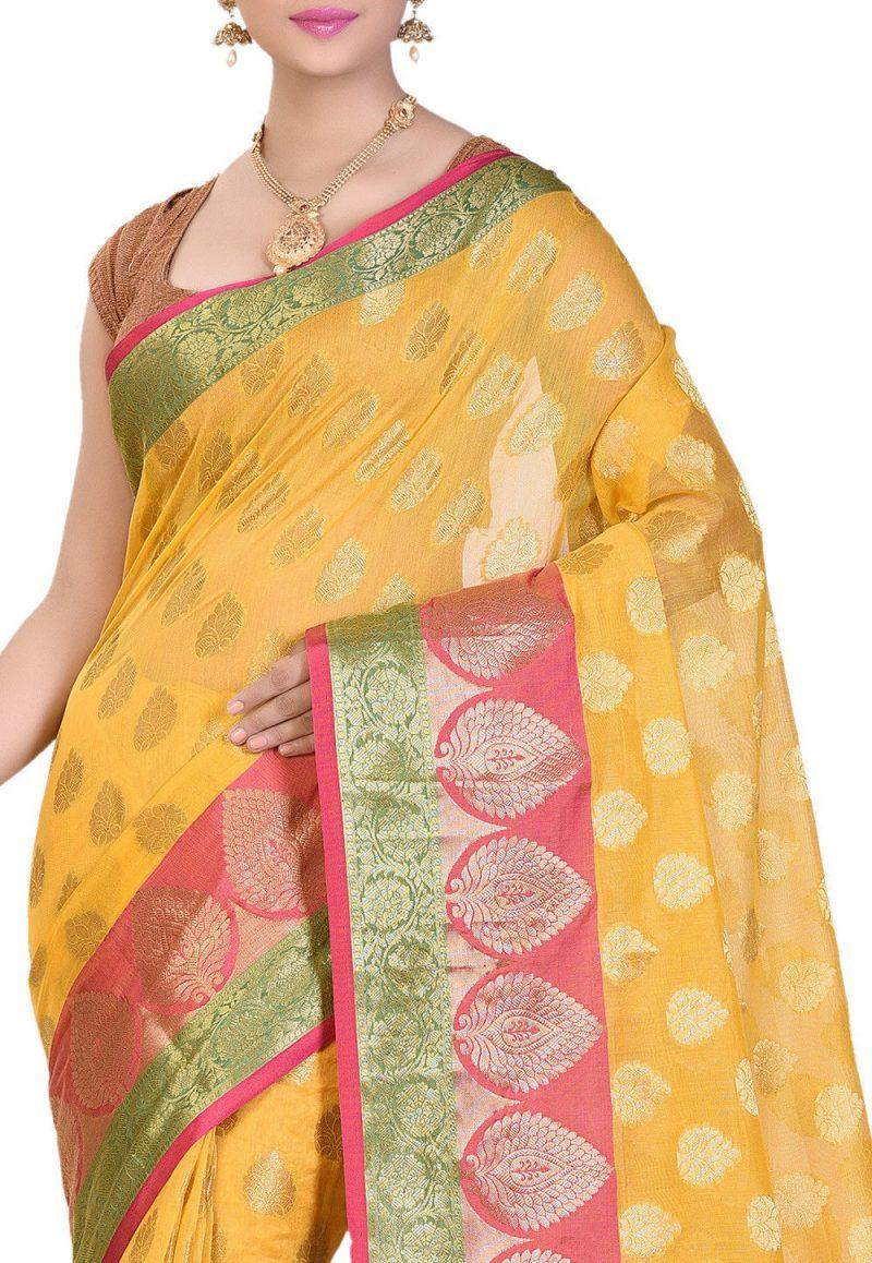 Banarasi Cotton Silk Saree in Yellow 2
