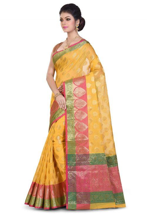 Banarasi Cotton Silk Saree in Yellow 7